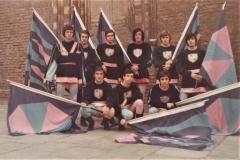 Gruppo sbandieratori 1972 : in piedi da sinistra, Mario Emanuele, Giancarlo Perosino,Maurizio Mela, Martino Latorre, Elio Bellangero; accosciati , Mauro Amerio, Roberto Genta, Sergio Pesce